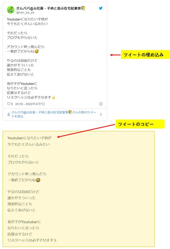 ブログにツイッターを埋め込むデメリットの補足を解説した画像です