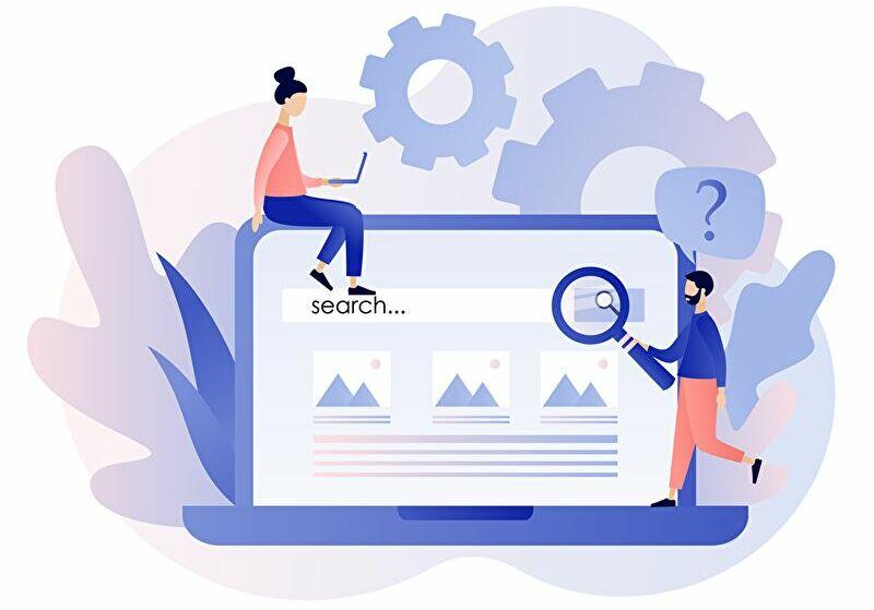 ブログの記事ネタを探す検索のイラスト画像です
