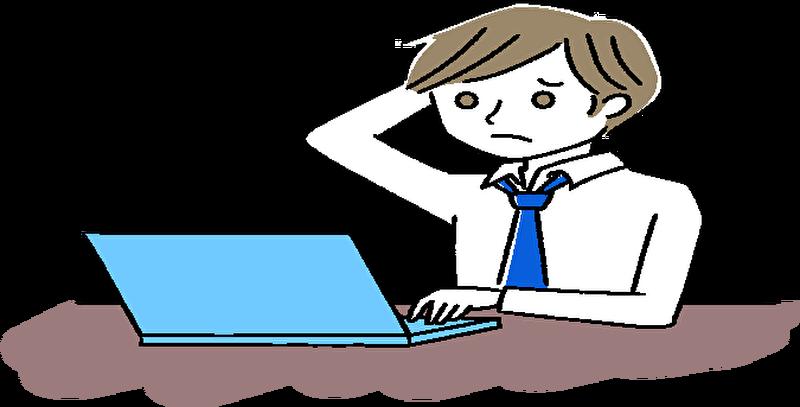 ブログに何を書いたらいいのか迷ってる男性のイラスト画像です