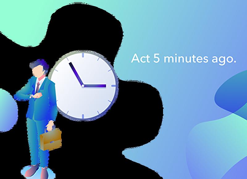 時計を見て5分前行動をするサラリーマンのイラスト