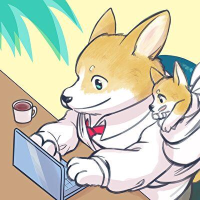 Twitterアイコン犬の親子がパソコン画面を見てるイラスト