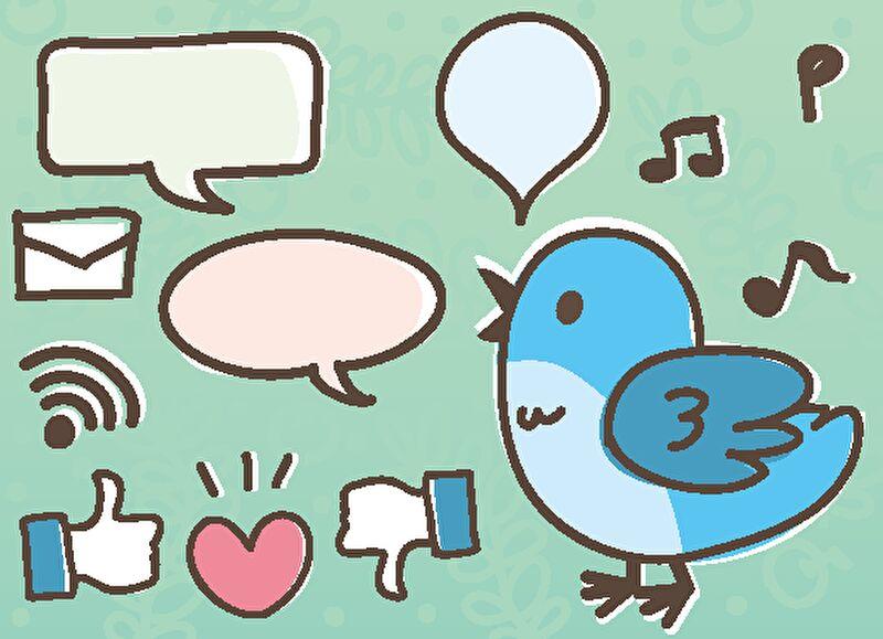 Twitterのイラストがたくさん描かれている画像
